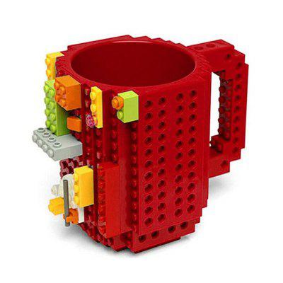 350ML Creative Assembled Decompression Building Blocks DIY Assembled Coffee Cup - Orange/Red/Green/Black/Blue
