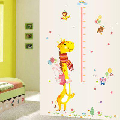 Lovely Animals Measure Height Monkey Climbing Wall Sticker Kids Room