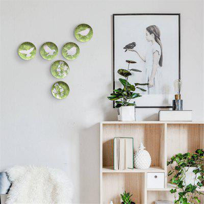 Wall Decorative Plate Ceramic Round Shape Bird Pattern Modern Home Decor
