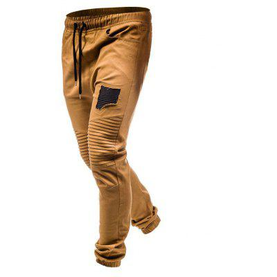 Men's fashion pleated rag stitching tether casual trousers