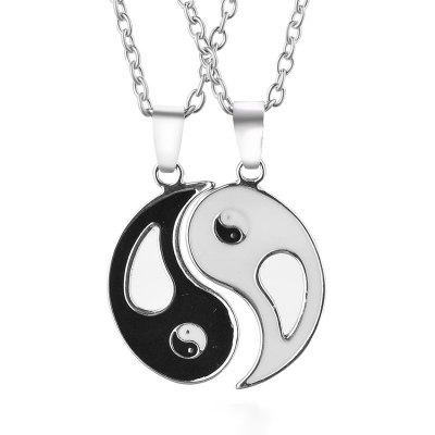 Style folklorique Tai Chi Huit Diagrammes Yin Yang Collier Lovers Pendentif