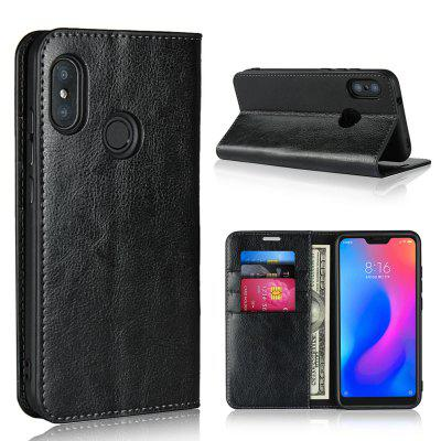 Luxury Genuine Leather Wallet Case Cover for Xiaomi Mi A2 Lite