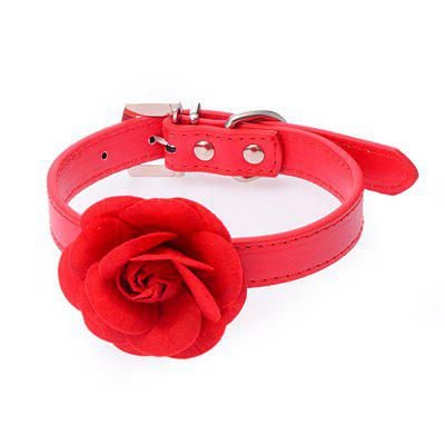 Puppy Necklaces Chic Rose Neck Strap PU Adjustable Pet Collars