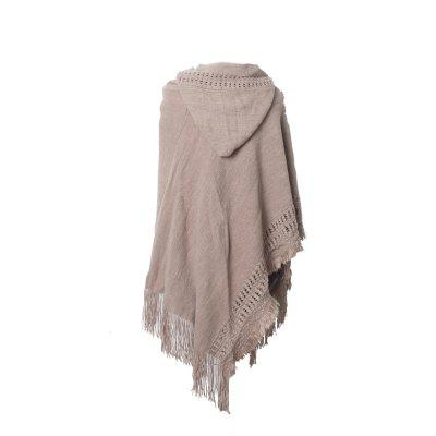 Lady's Soft and Solid Cap Knitted Cloak