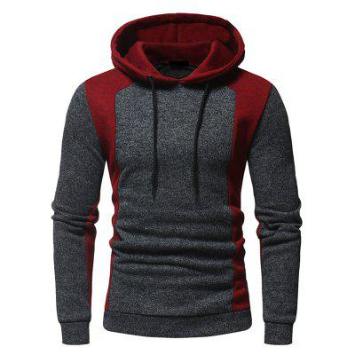 Men's Fashion Contrast Color Splicing Hooded Slim Long-Sleeved Knit Sweater