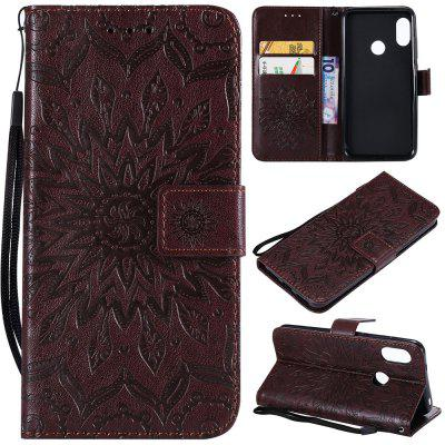 Sunflower Embossing PU Leather Wallet Stand Flip Case for Xiaomi Mi A2 Lite