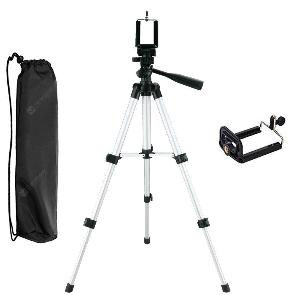 Three-way Universal  Aluminum Tripod Camera with Cell Phone Clip Holder