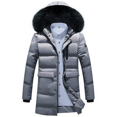 Men Quilted  Solid Color Hooded Plush Fashionable Casual Coat
