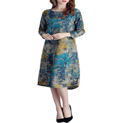 Large Print in A Long Seven-Point Sleeve Dress Female