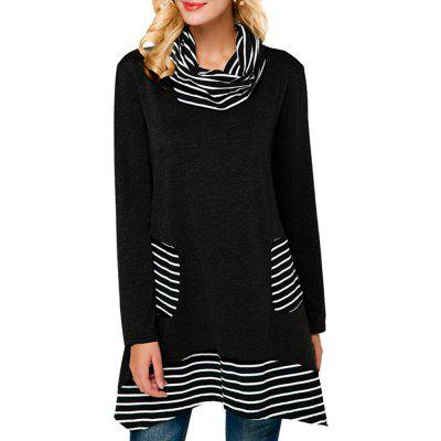 Long Stripes in A High-Necked T-Shirt