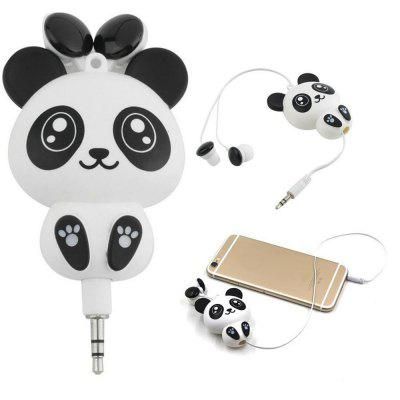 Cute Panda Retractable In-Ear Headset Earphones Earbuds Headphone for Phone