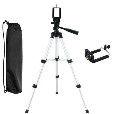 Three-way Lightweight Aluminum Tripod Camera with Cell Phone Clip Holder