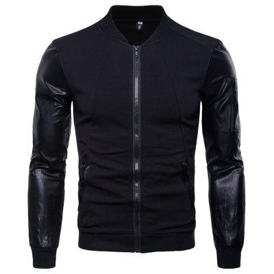 Man Leather Clothing Stand Collar Thickened Coat Jacket