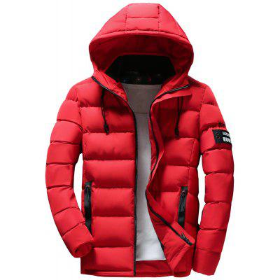 Men Quilted Coat Solid Color Casual Warm Hooded