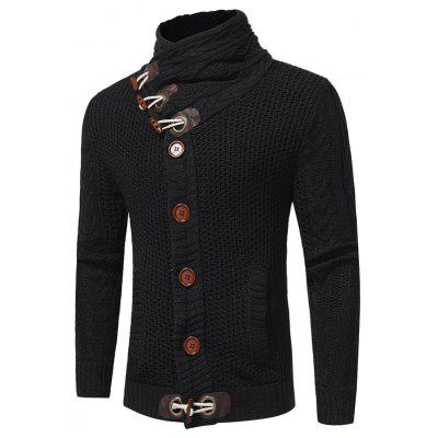 Men's Fashion Stand Collar Long Sleeve Thick Cardigan Sweater