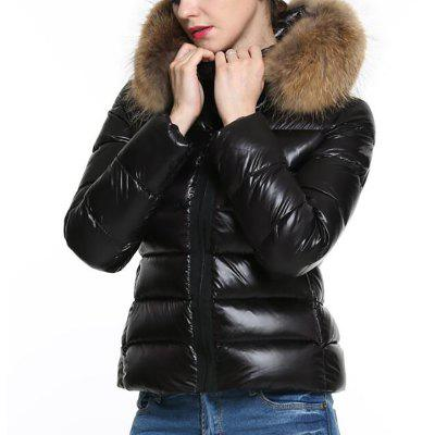 Women Jacket Black Puffer Coat Faux Fur Hooded Long Sleeves Quilted For Winter