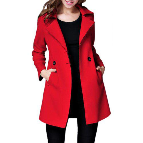 2244324b2be54 Women Peacoat Long Sleeve Button Turndown Collar Woolen Winter Overcoat -   42.87 Free Shipping