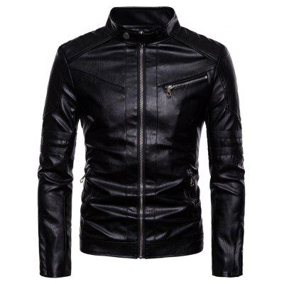 Man Leather Clothing Stand Collar Black Jacket Coat