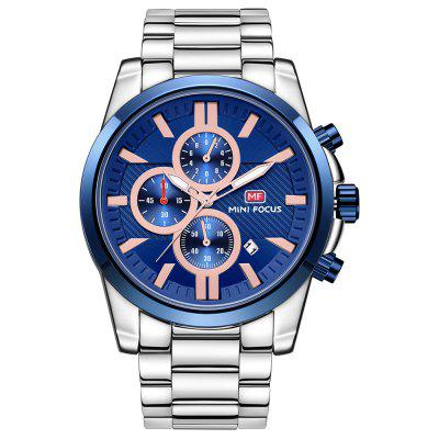 Business Calendar Mens cuarzo acero inoxidable marca MINI FOCUS relojes de pulsera