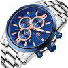 Business Calendar Mens cuarzo acero inoxidable marca MINI FOCUS relojes de pulsera - AZUL