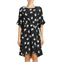 f169aa65fbf SBETRO Female Dress Floral Print Flare Sleeve Black Casual Women Dress with  Tie
