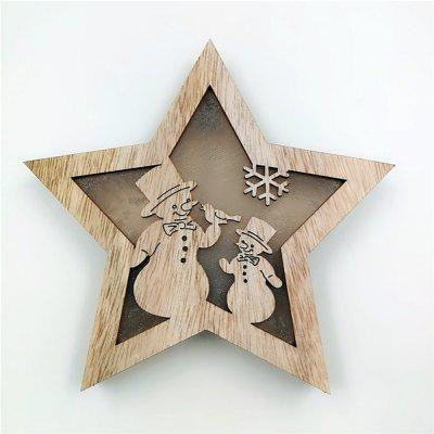 Christmas Small Wooden Luminous Star Crafts Cabinet Table Decoration