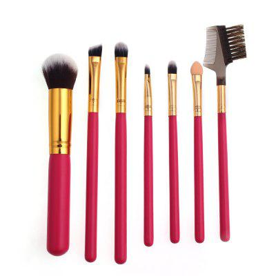 High Quality 7 PCS Makeup Brush Set Wood Handle Travel Kit
