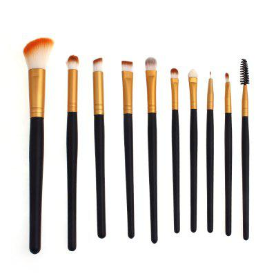 High Quality 10 PCS Makeup Brush Set Wood Handle Travel Kit