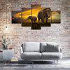 YISHIYUAN 5 Pcs HD Inkjet Paints Sunset Elephant Animal Decorative Painting - MULTI