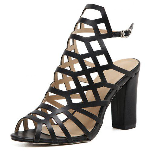 Women's Japanese Sandals Heel Black With Cut Out Square ZiukXOP