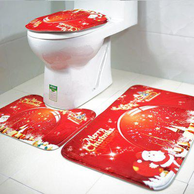 Christmas Carpet Three-Piece Toilet Toilet Set Floor Mat Bathroom Anti-Slip Mat