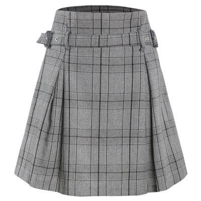 Plaid Flower Waist Thin A-Line Skirt