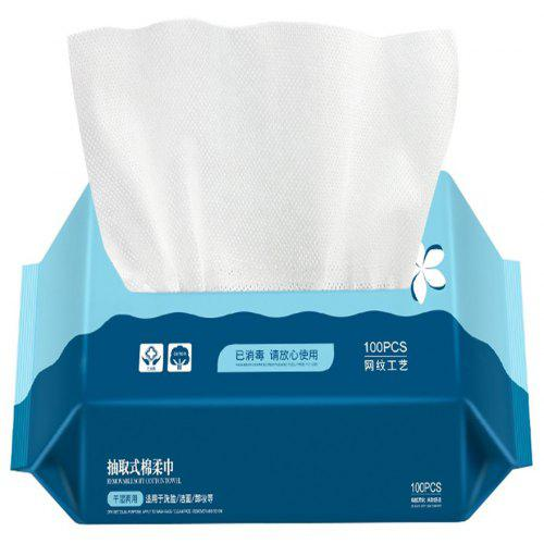 Frcolor 100 Pcs Disposable Facial Cotton Tissue Face Cloth Towel Makeup Cotton Pad with Storage Box