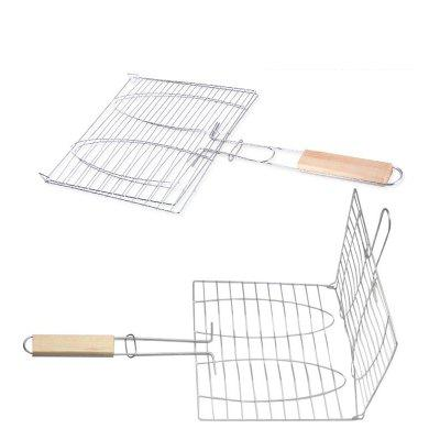 Stainless Steel BBQ Net Fish Meat Hamburg Net Barbecue Nets Grill Clamp