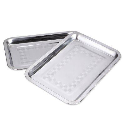 Stainless Steel Rectangular Plate Barbecue Grilled Fish Tray BBQ Food Container