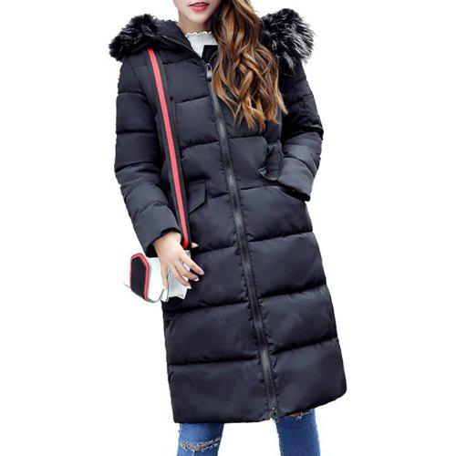 30b9063f0af Cheap Women Winter Jacket Thickness Warm Parka Hooded Large Fur Collar Coat