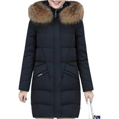 Woman Compatible Down Jacket Thick Hooded Faux Fur Cotton Coat