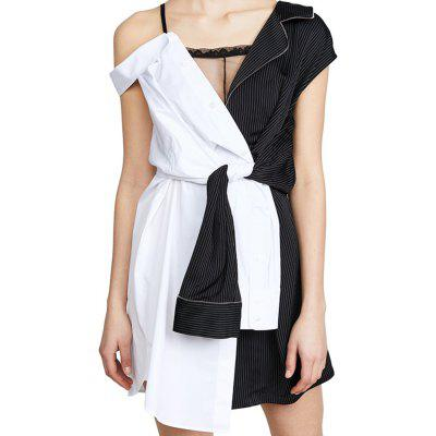 Fashion Personality Color Matching Suspenders Asymmetrical Dress