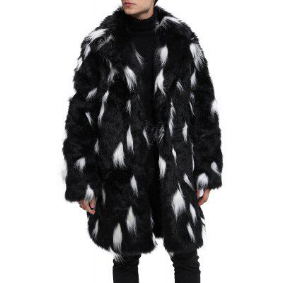 Men Faux Fur Coat Turndown Collar Two Tone Fluffy Coat Long Sleeve Overcoat