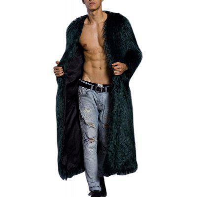 Men's Faux Fur Coat V Neck Long Sleeve Long Winter Overcoat