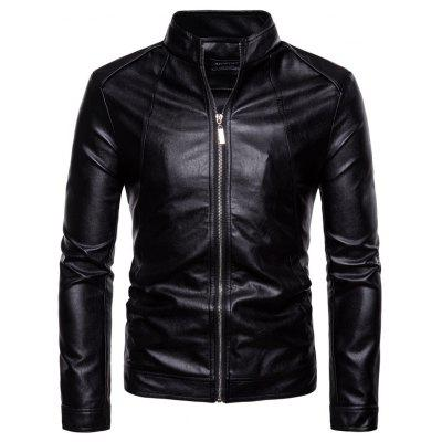 Man leather clothing black Single color Thickened fashion coat