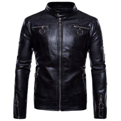 Man Leather Clothing Single Color Thickened Stand Collar PU Jacket Coat