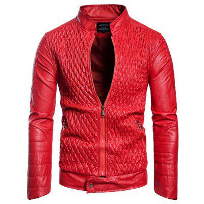 Man Leather Clothing Leather Clothing Single Color Wrinkle Jacket Coat