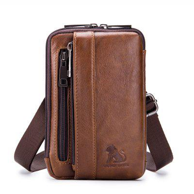 The first layer of leather small bag waist bag 6 inch mobile phone pocket
