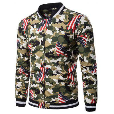 Print Stand Collar Fashion Design Men's Jacket