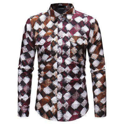 Men's Fashion Business Gentleman Plaid Stitching Slim Shirt