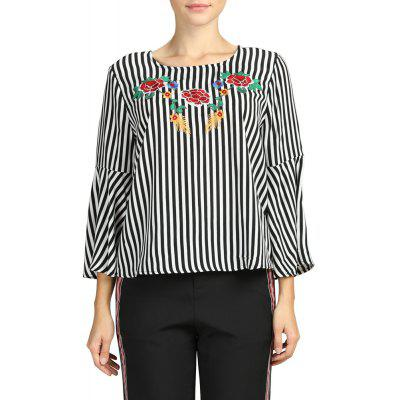 SBETRO Female Shirt Striped Embroidered Long Flare Sleeved Womens Chiffon Blouse