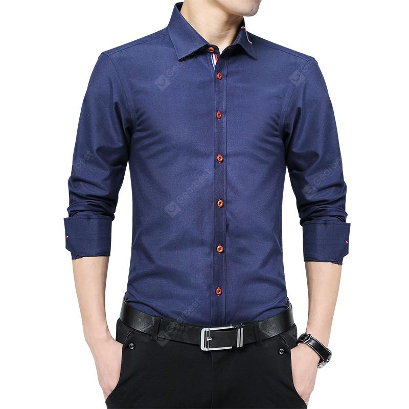 70e44b8232b Men S Solid Color Long-Sleeved Shirt Business Casual Shirt Shirt ...
