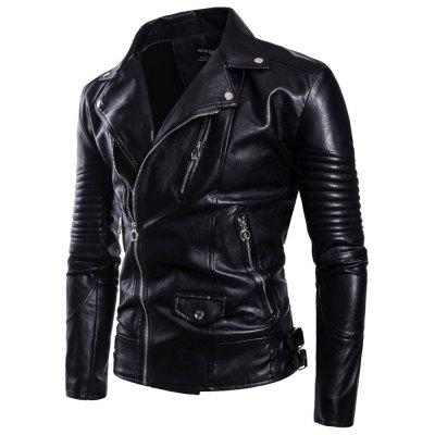 Man Leather Clothing Jacket Fashion Thickened Lapel Black Single Color Coat