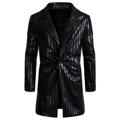 Man Leather Clothing Single Color Black Stripe Long Sleeves PU Leisure Time Coat
